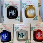 Holiday ornaments with double h ranch logo.