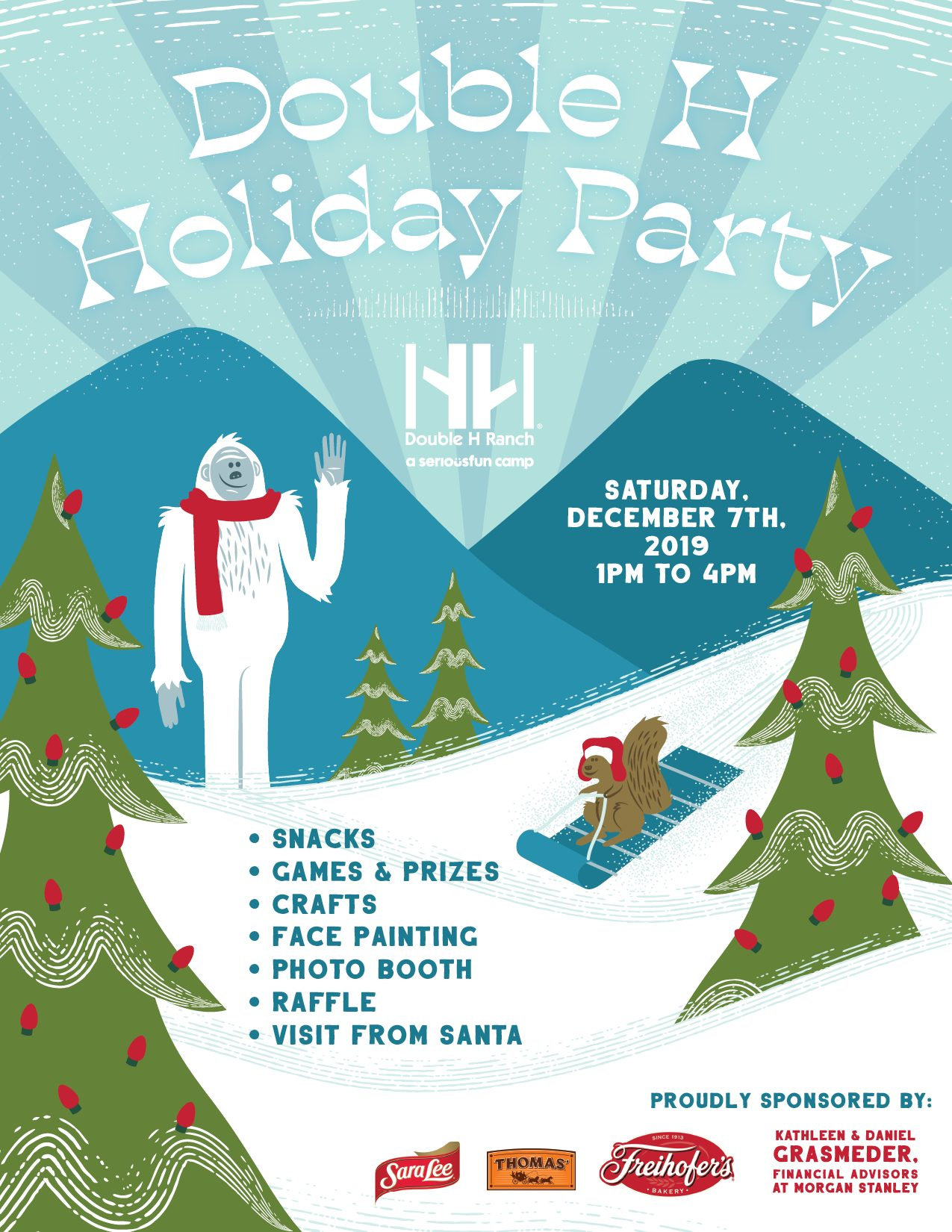 holiday party graphic with activities and snowman