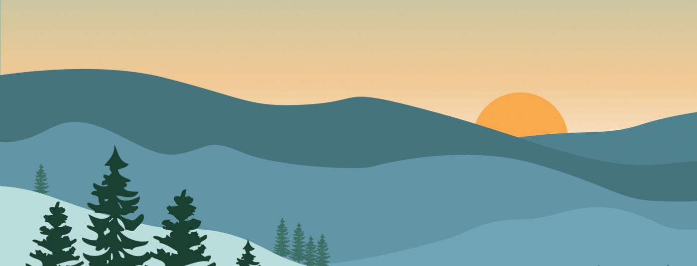winter graphic with mountains and sun set