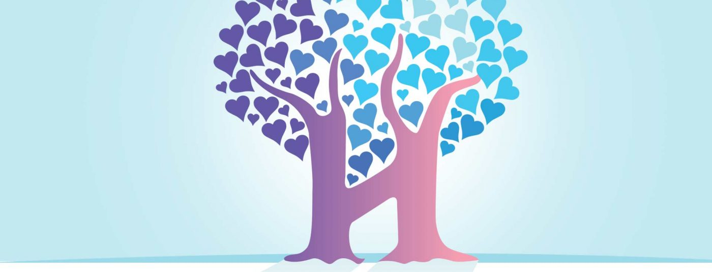 h tree graphic with hearts