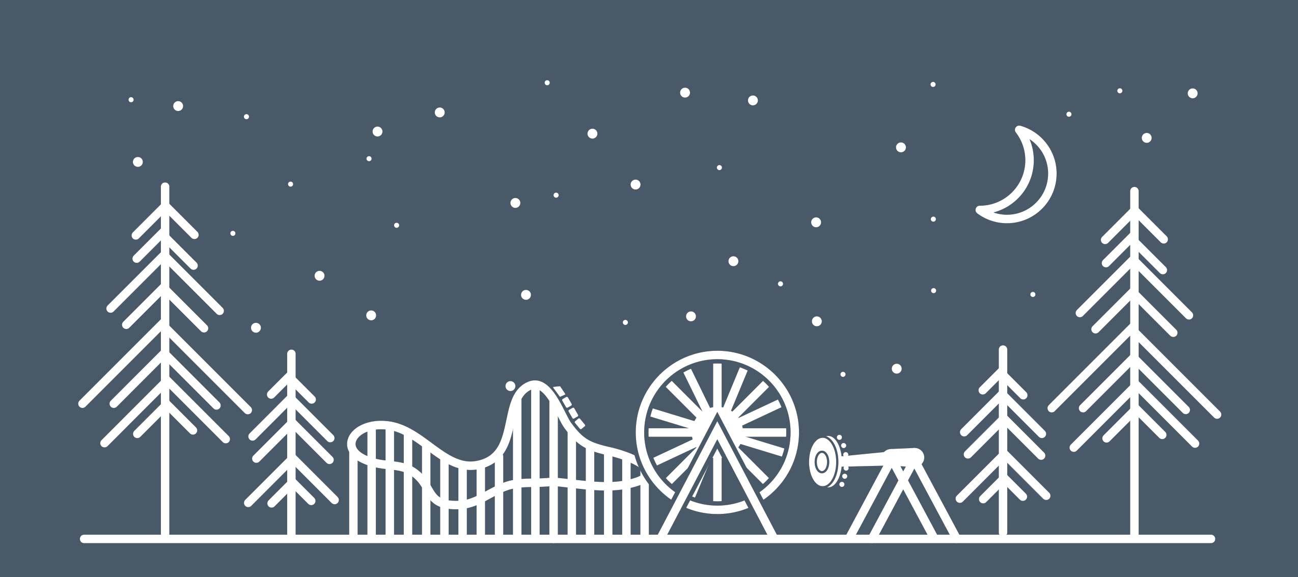 amusement park under starlit sky graphic