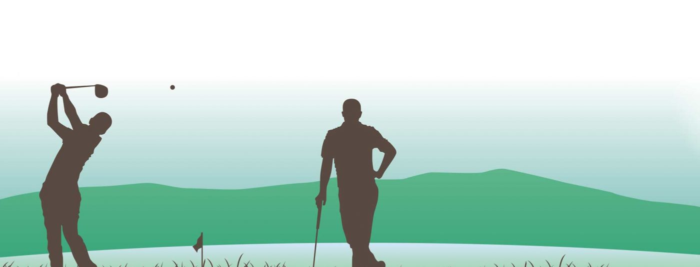 graphic of two golfers with lake and mountains in the distance