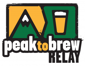 peak to brew relay logo with mountain and glass