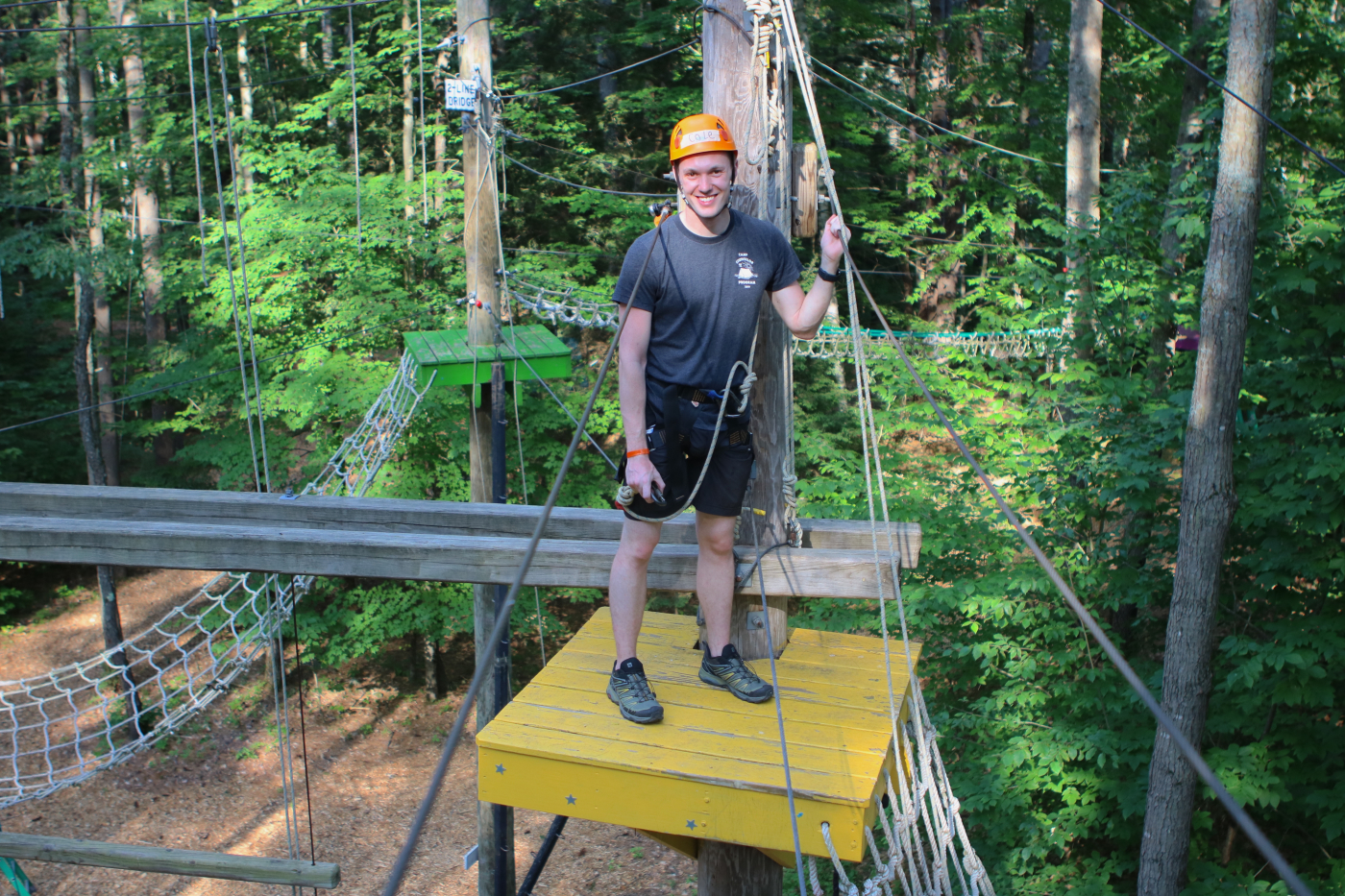 cole on ropes course platform