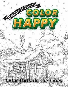 color happy coloring book with winter cabin