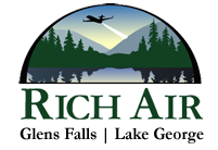 rich air logo with plane and lake